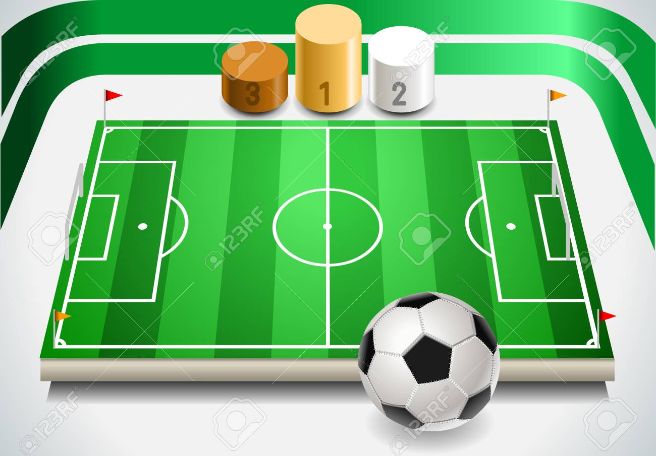 Detailed illustration of a set of Soccer Field with Soccer Ball and Podium Stock Vector - 18569800