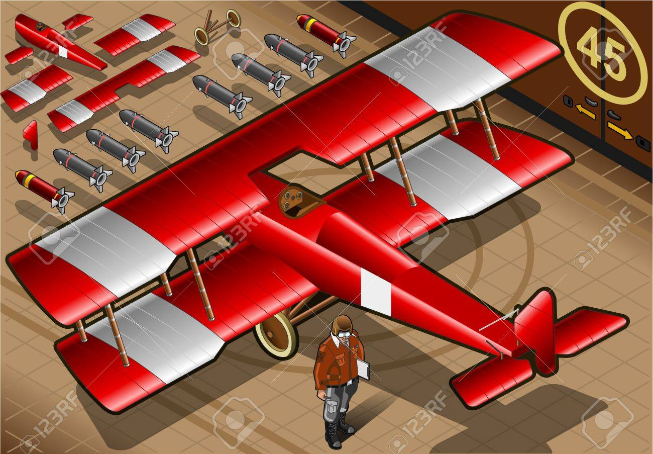 Detailed illustration of a Isometric Red Biplane Landed in Rear View Stock Vector - 18647117