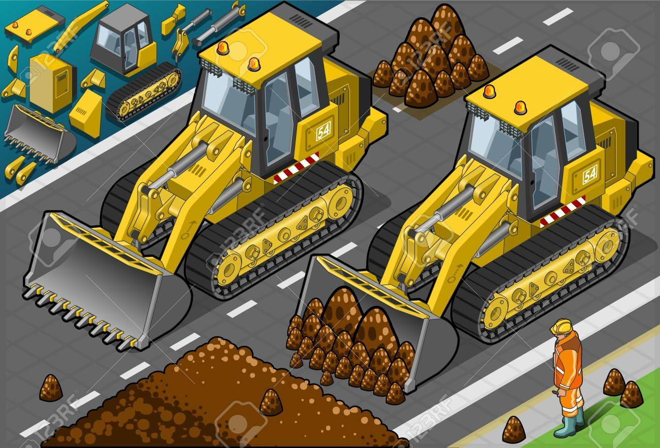 Detailed illustration of a isometric yellow bulldozer in front view Stock Vector - 18854460
