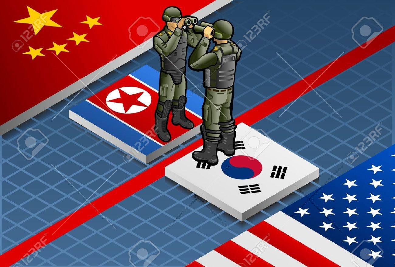 Detailed illustration of a isometric concept of Korean crisis escalation Stock Vector - 18903804