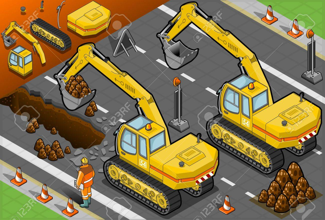 Detailed illustration of a isometric yellow excavator in rear view Stock Vector - 19420192