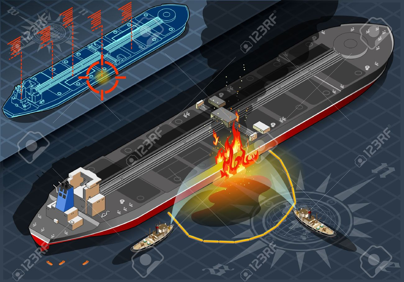 Detailed illustration of a Isometric Oil Tanker Fire Disaster in Rear view Stock Vector - 20276588