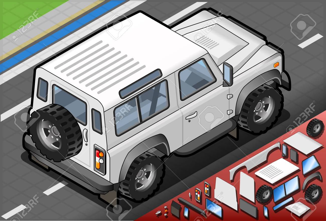 Detailed illustration of a Isometric White Cross Country Vehicle in Rear View Stock Vector - 20466682