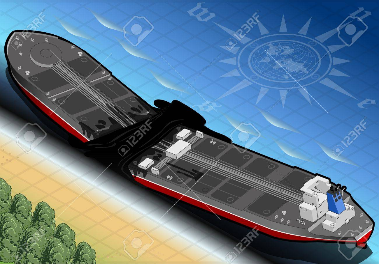 detailed illustration of a Isometric  Ship Tanker Destroyed in Two Parts in Rear View on the Coast Stock Vector - 20451676