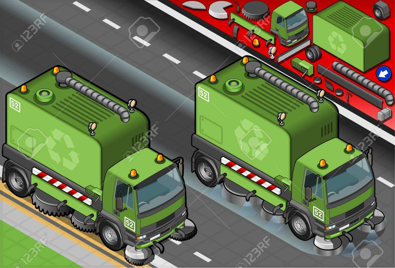 Detailed illustration of a isometric garbage cleaner truck in front view Stock Vector - 20466705