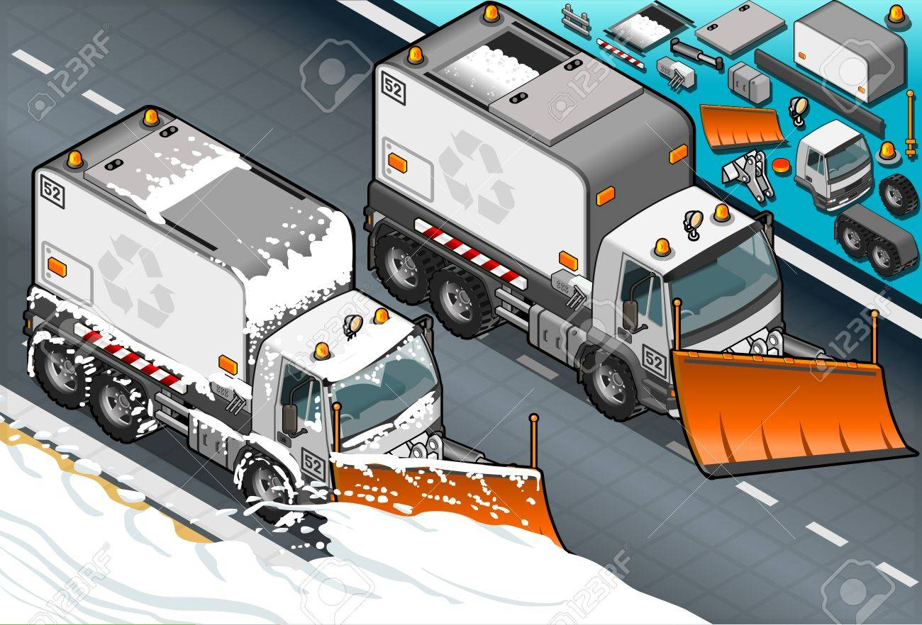 Detailed illustration of a isometric Snow Plow truck in  front view Stock Vector - 20466698
