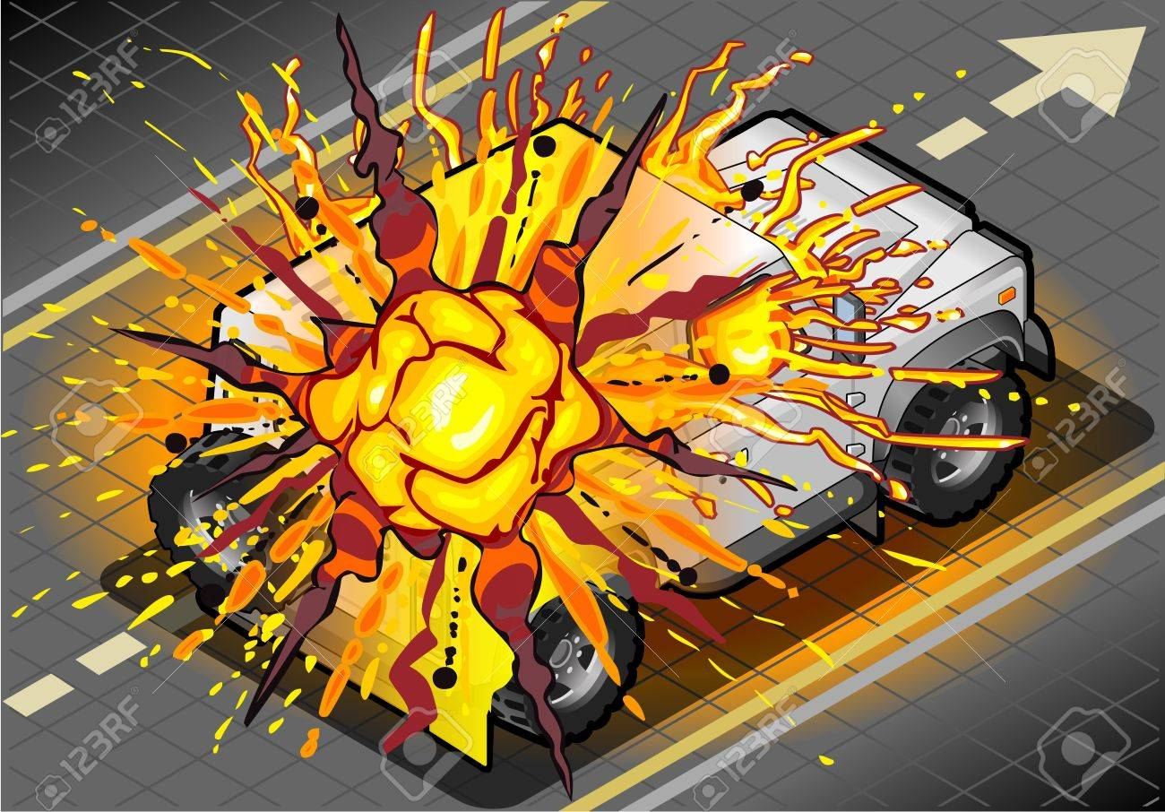 Detailed illustration of a Isometric White Cross Country Vehicle in Explosion in rear view Stock Vector - 20743631