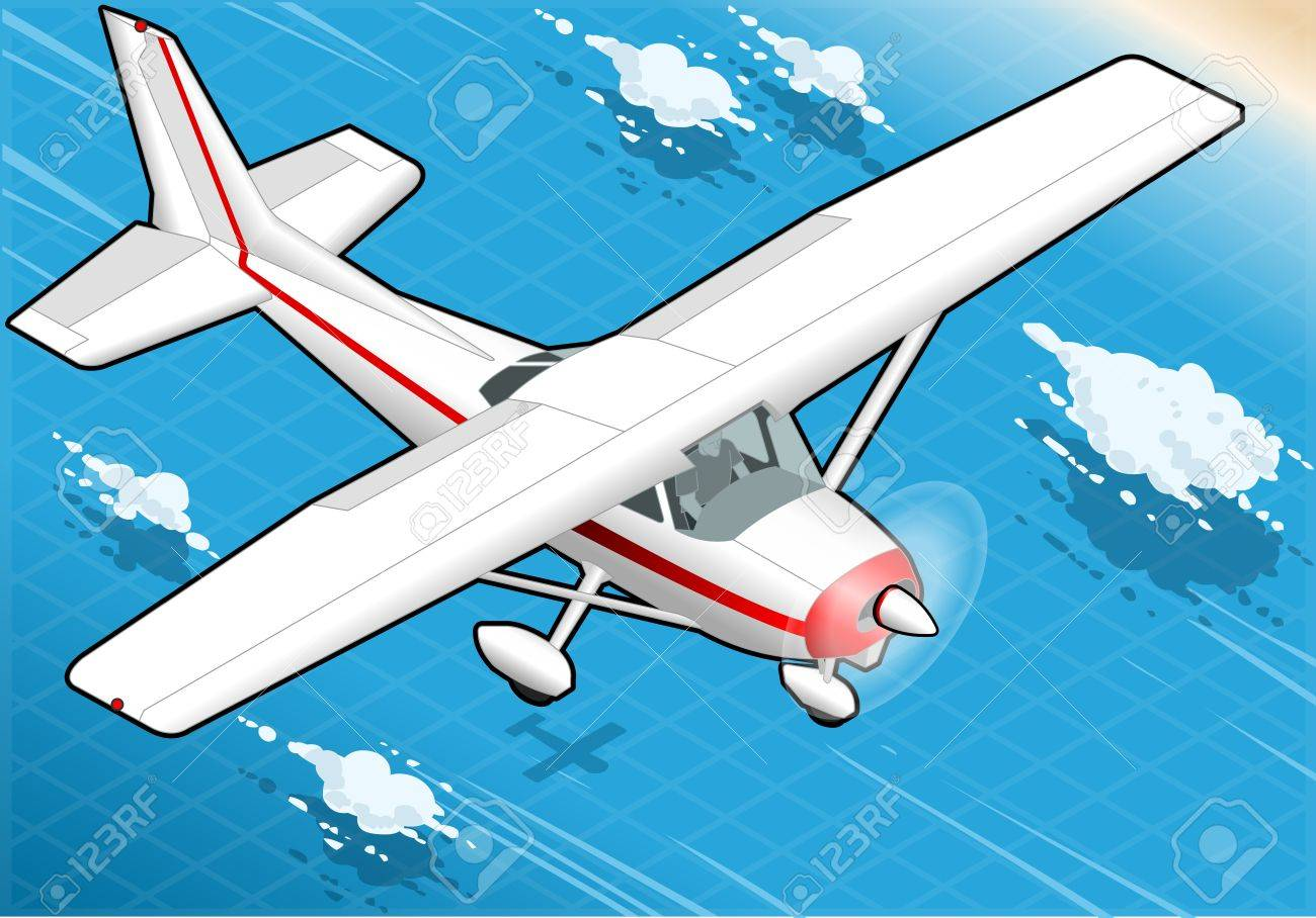 Detailed illustration of a Isometric White Plane in Flight in Front View Stock Vector - 20753110