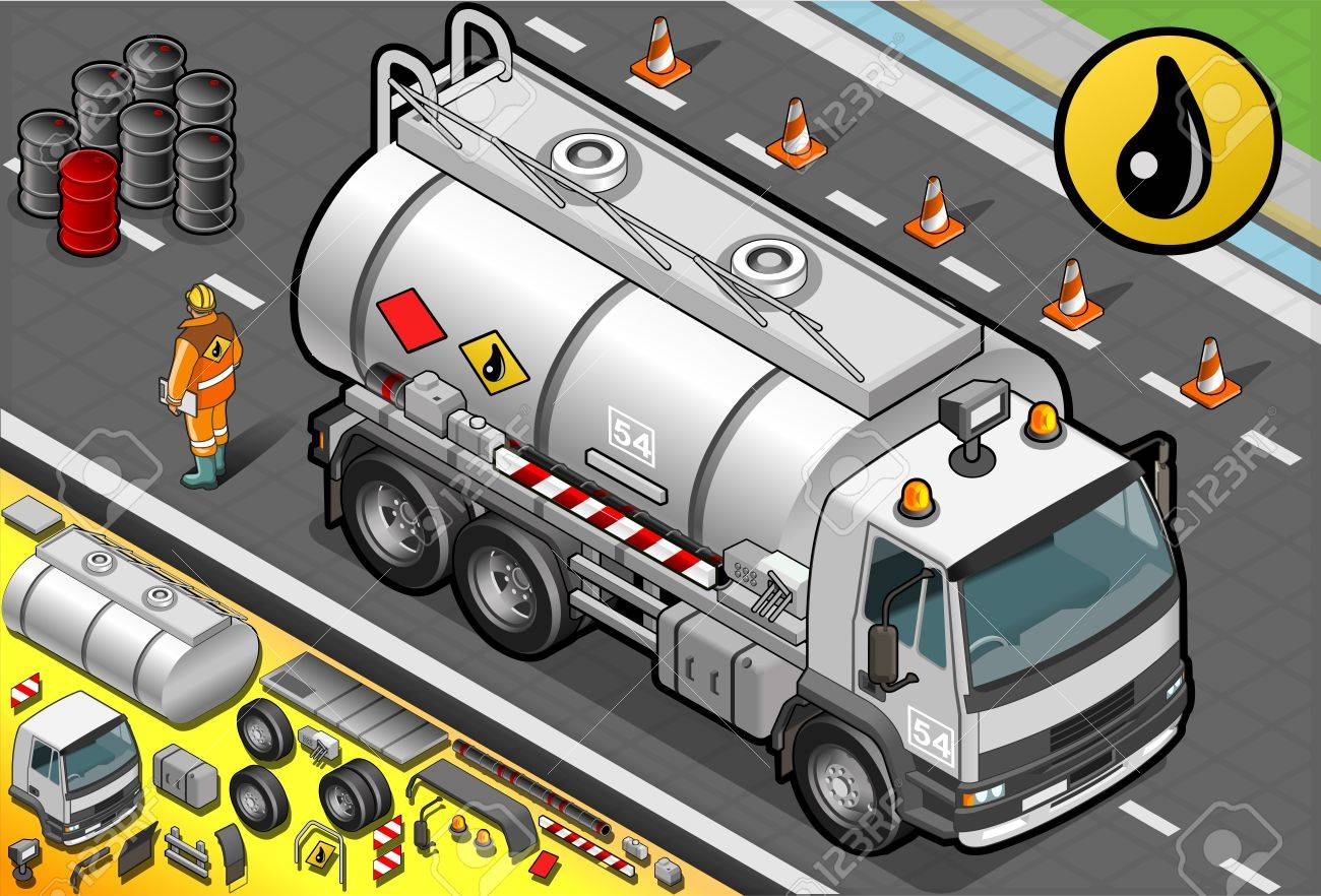Detailed illustration of a Isometric Liquid Tanker Truck in Front View Stock Vector - 21049624