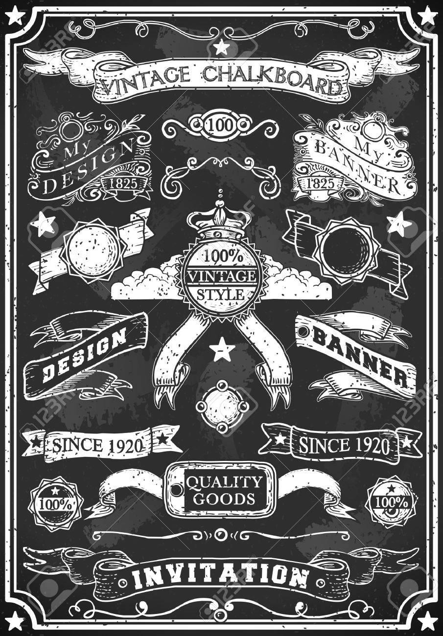 Detailed illustration of a Hand Drawn Blackboard Banner - 22252980