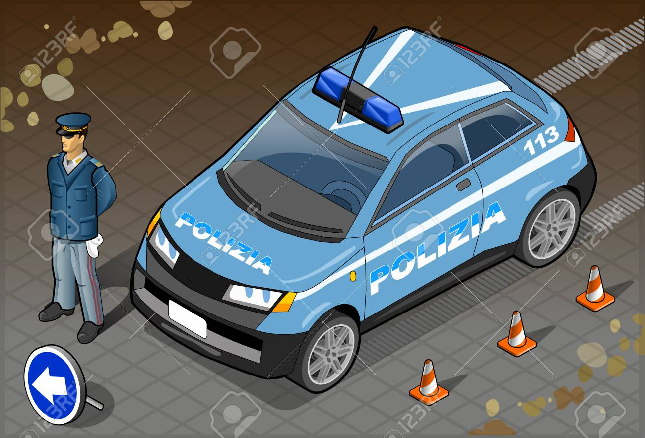 Detailed illustration of a Isometric Italian Police Car and Standing Policeman Stock Vector - 22974148