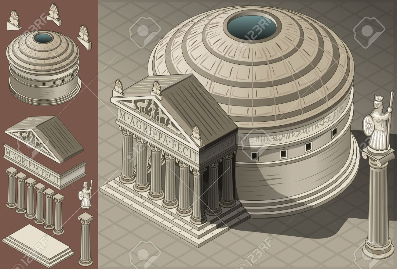 Roman Architecture Pantheon detailed illustration of a isometric pantheon temple in roman