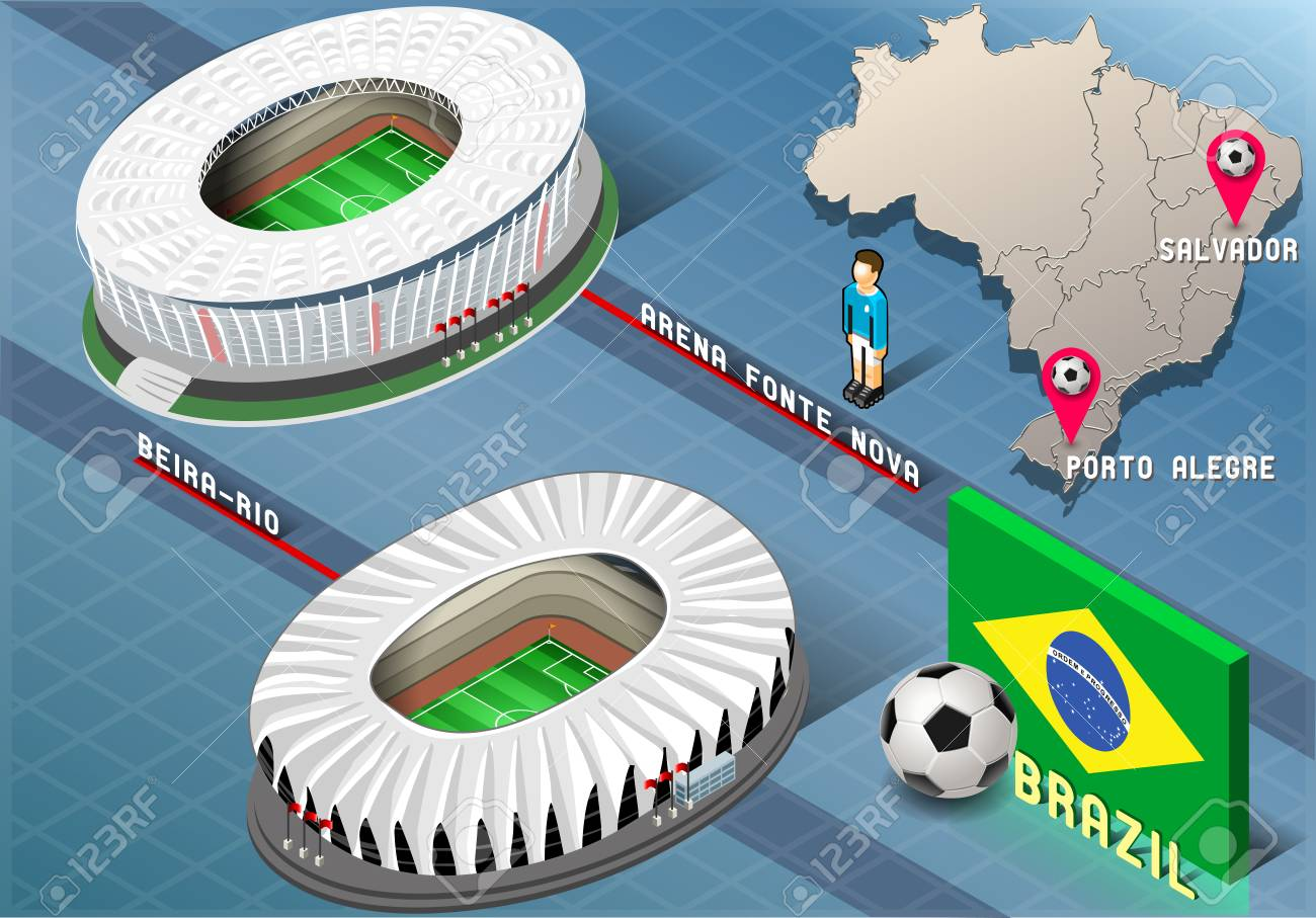 Detailed illustration of a Isometric Stadium of Salvador and Porto Alegre, Brazil - 28600561