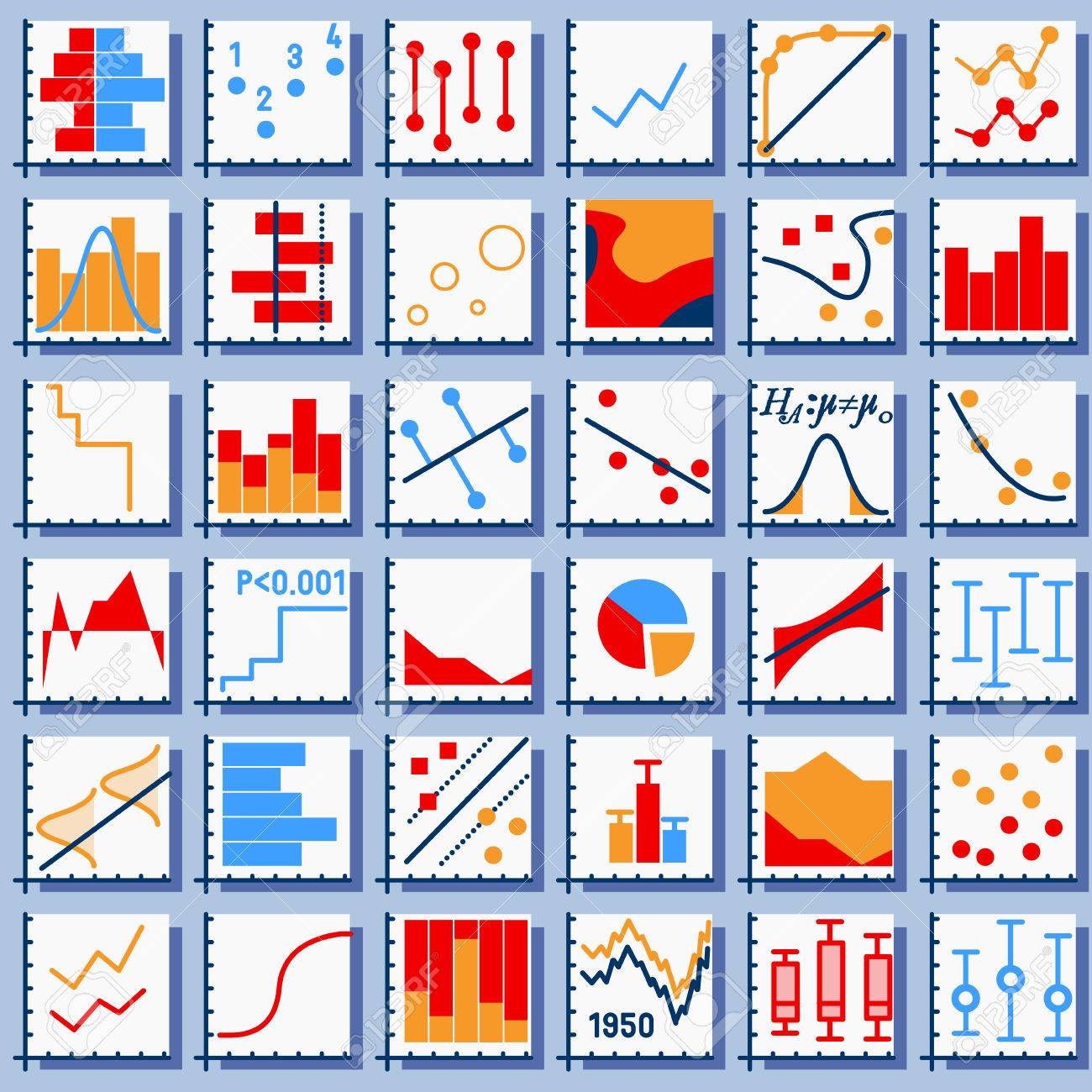 Detailed illustration of Stats Element Set in Various Colors - 32565500