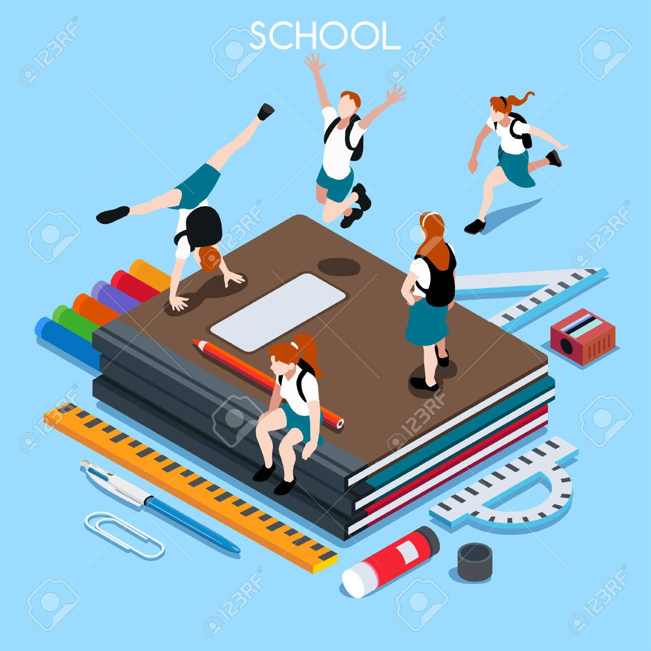 School Chancellery Set 04. Interacting People Unique IsometricRealistic Poses. NEW lively palette 3D Flat Vector Illustration. Happy Back to School - 44080018
