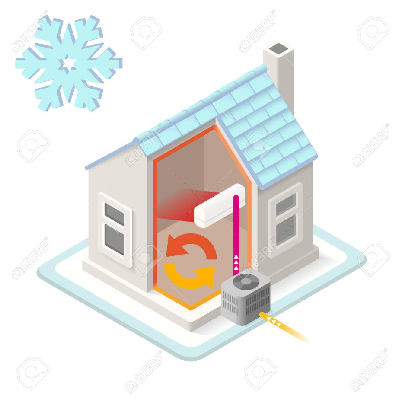 Heat Pump House Heating System Infographic Icon Concept. Isometric 3d  Soften Colors Elements. Air