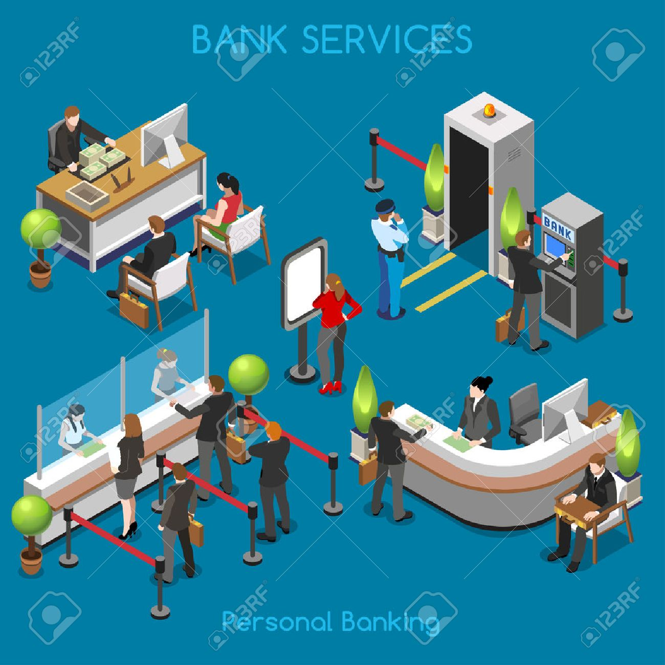 Bank Office Building Floor Interior Detail Elements. Interacting People Unique Isometric Realistic Poses. NEW bright palette 3D Flat Vector Isometric Set. Counter vault cashdesk currency exchange - 44413186