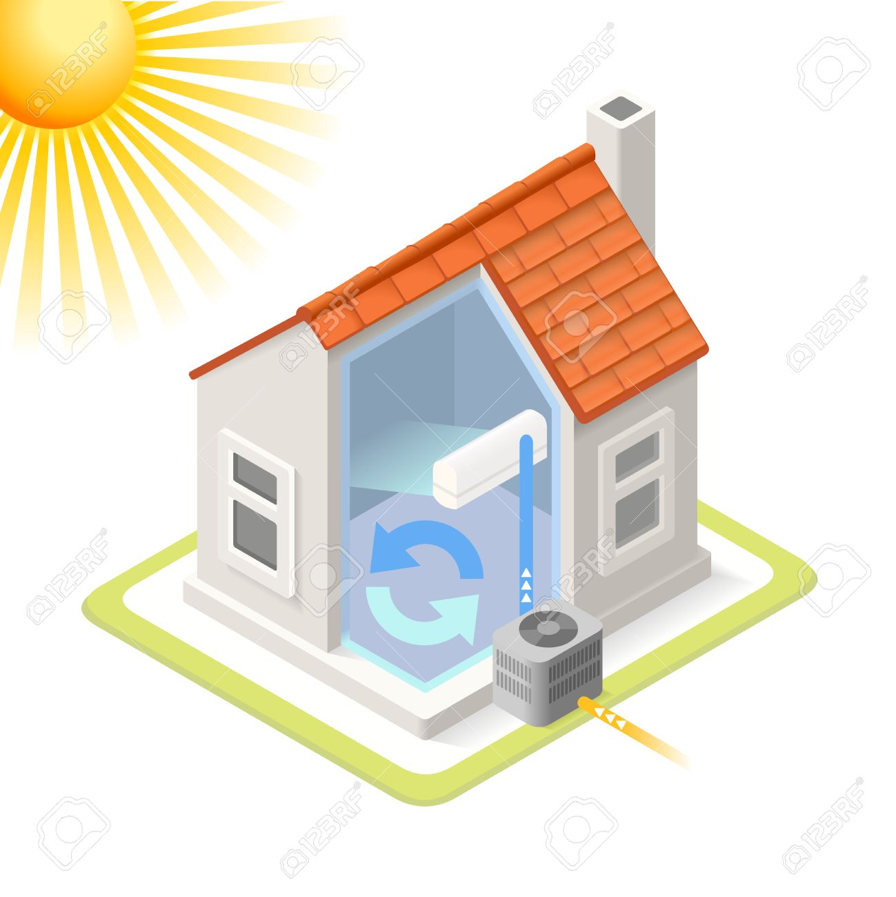 Heat Pump House Cooling System Infographic Icon Concept. Isometric 3d  Soften Colors Elements. Air