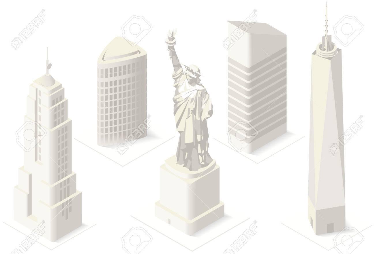 NYC Liberty Statue And Landmarks Isometric D Flat Landmark New - New york city map usa
