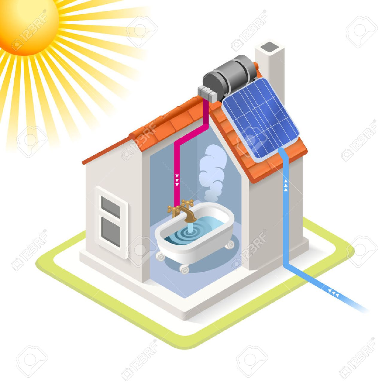 Beautiful Clean Energy House Solar Panels Infographic Icon Concept. Isometric 3d  Soften Colors Elements. Heating