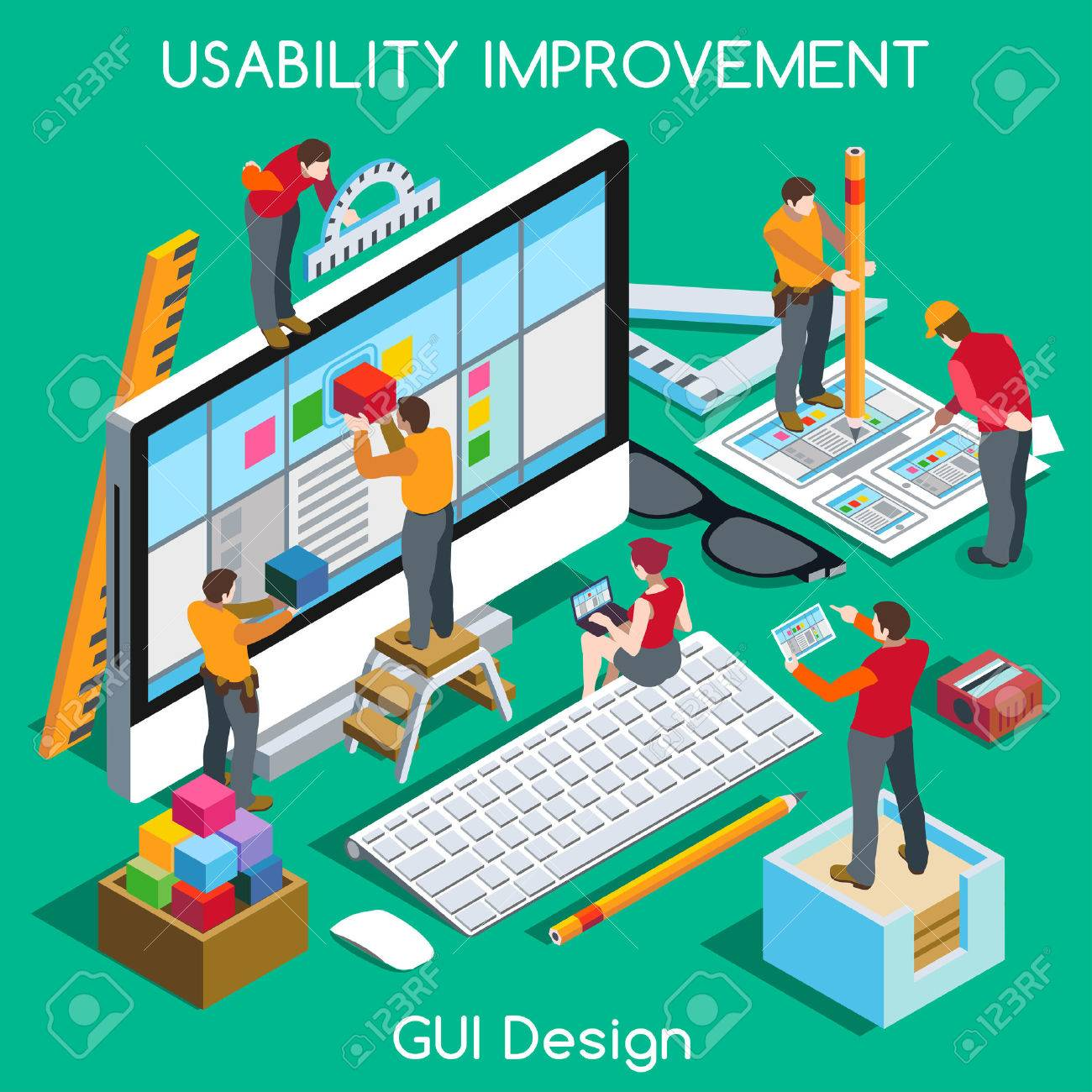 GUI design for Usability and User Experience Improvement. Interacting People Unique Isometric Realistic Poses. NEW bright palette 3D Flat Vector Concept. Team Creating Great Web Graphic User Interfac - 44413313