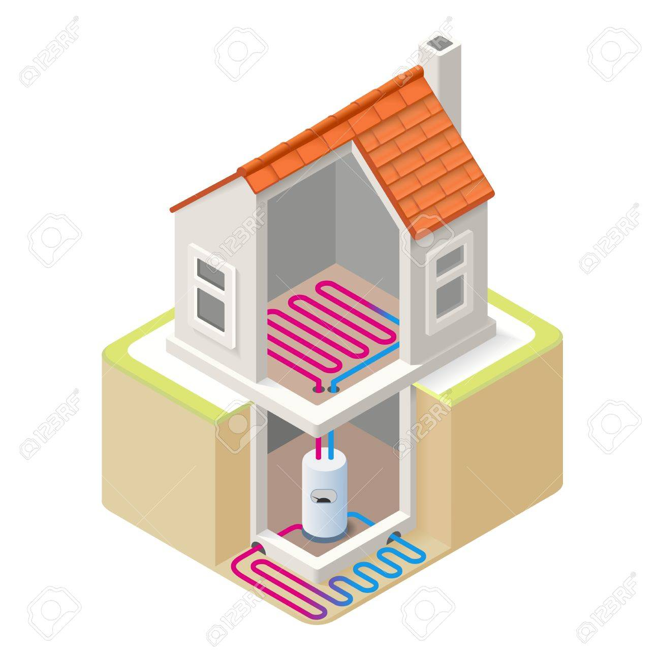 House Boiler Floor Heating Infographic Icon Concept. Isometric ...