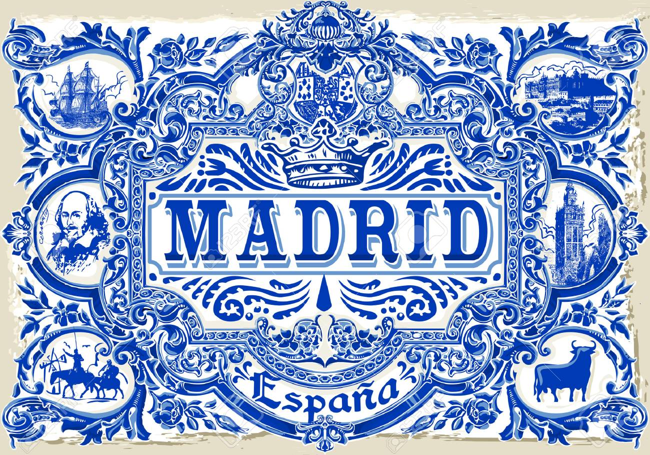 Detail Peint Tin Ceramique Emaillee Carrelage Azulejos Vintage Spanish Dalles Vector Illustration Traditionnelle Madrid Espagne Clip Art Libres De Droits Vecteurs Et Illustration Image 46185425