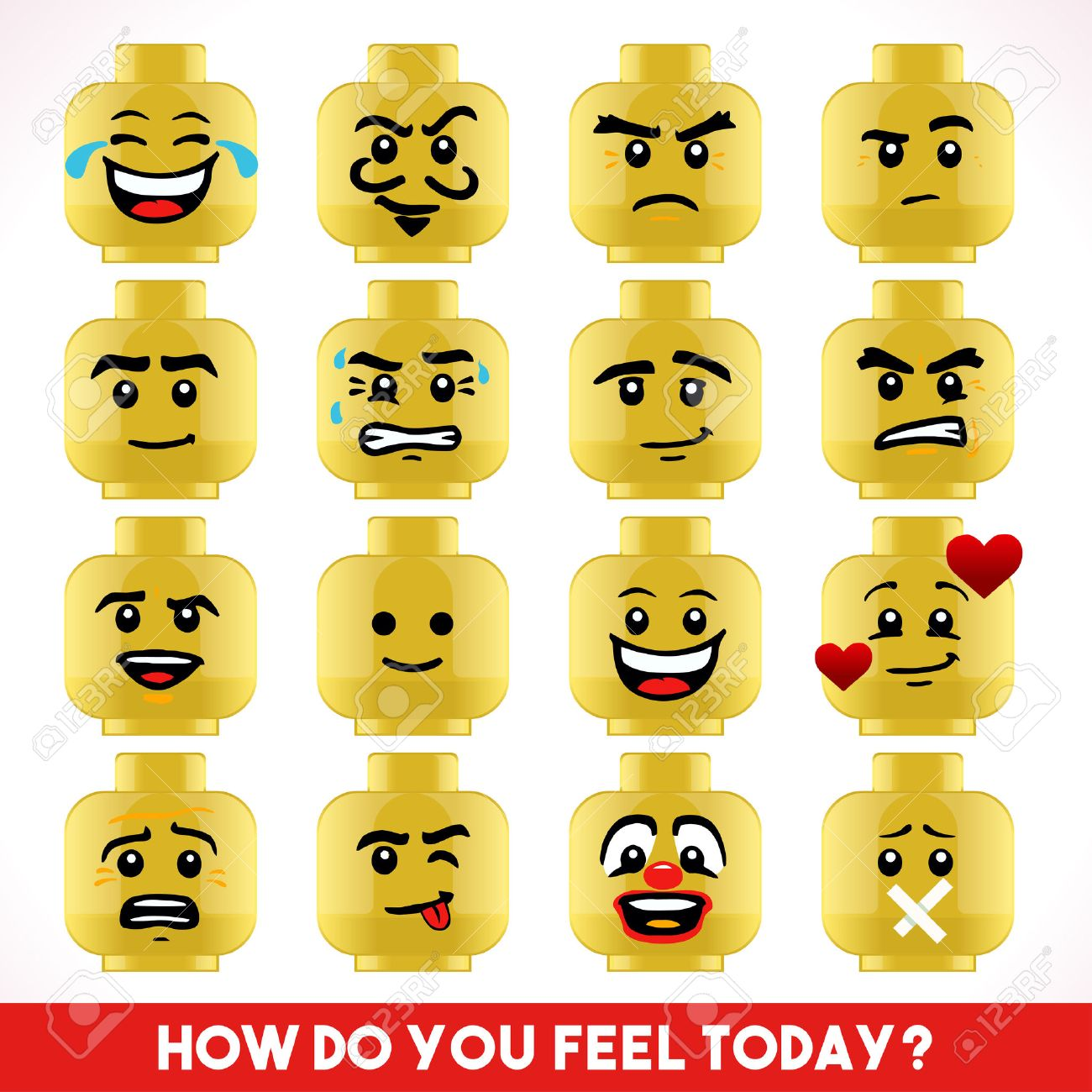 Toy Block Collection of Different Emoji Faces - 47073250
