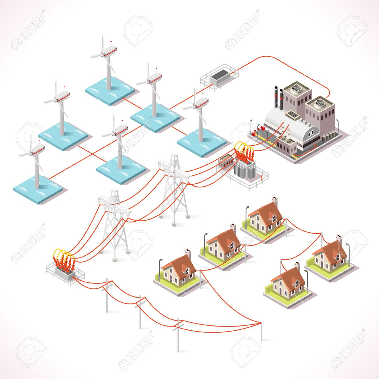Offshore Wind Farms. Isometric Windmill Power Plant Factory ...