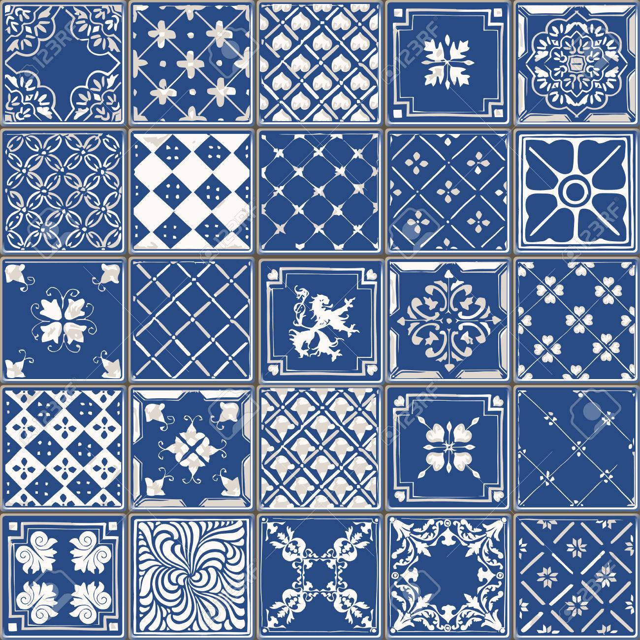 Indigo Blue Tiles Floor Ornament Collection. Gorgeous Seamless ...