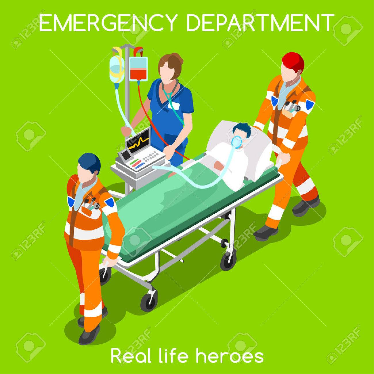 Clinic Emergency Department Ambulance Service First Aid And Hospitalization Set Adult Patient On Stretcher