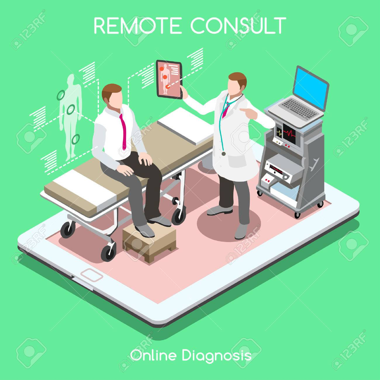 Mobile online remote medical consult clinic hospital flat 3d