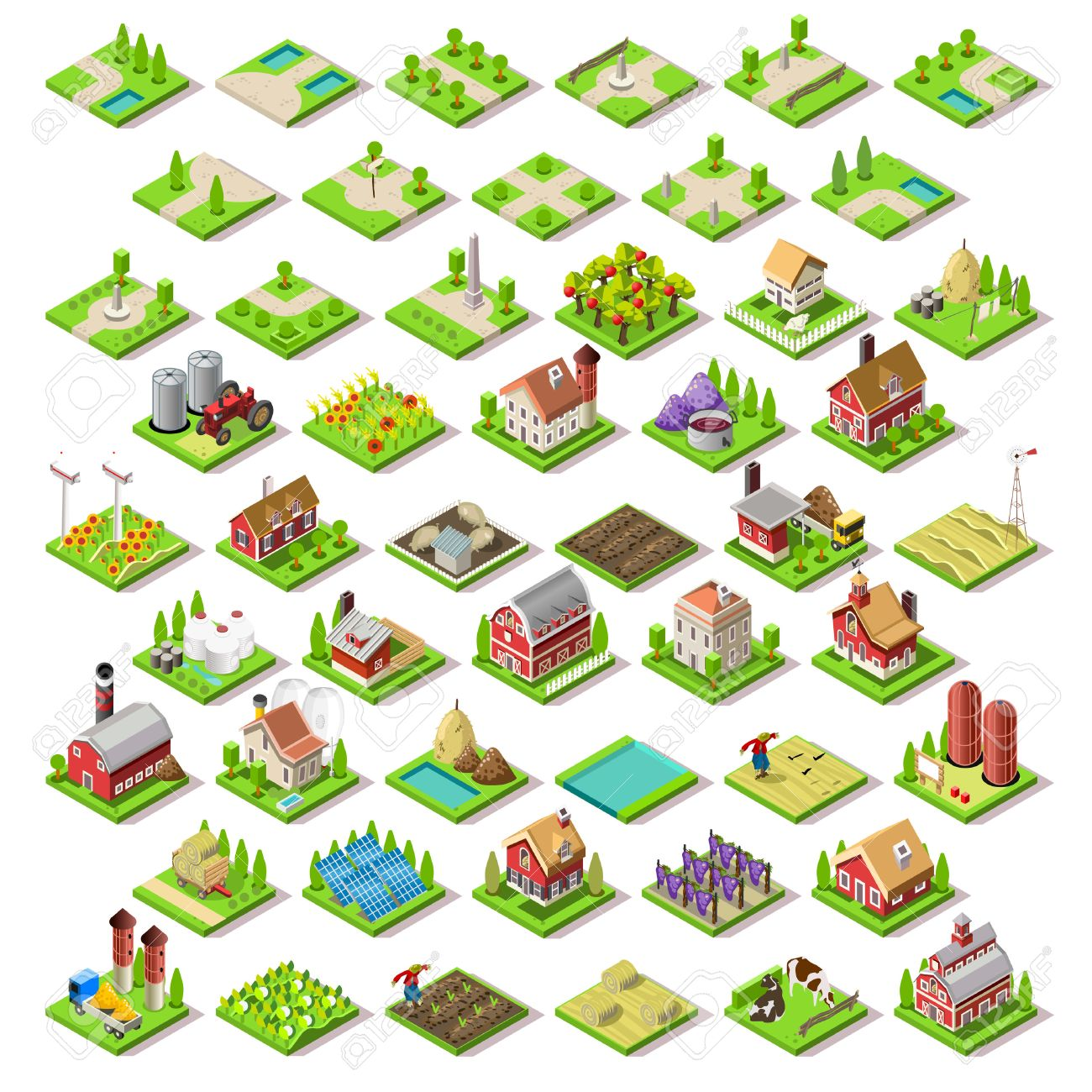 Flat 3d Isometric Farm Buildings City Map Icons Game Tiles Elements Set. NEW bright palette Rural Barn Buildings Isolated on White Vector Collection. Assemble Your Own 3D World - 51804971