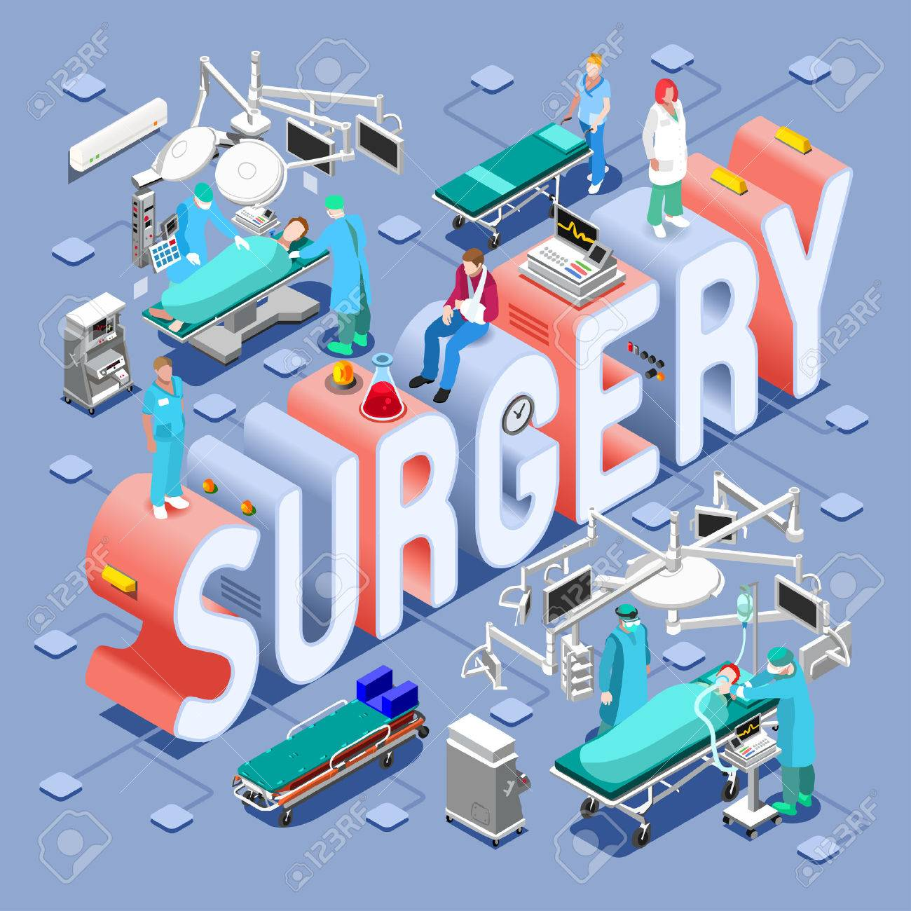 Surgery Healthcare Concept. Clinic Hospital Departments Symbols and People NEW bright palette 3D Flat Vector Set. Patients Doctors Nurses Scrubs Staff and Support Workers - 51805229