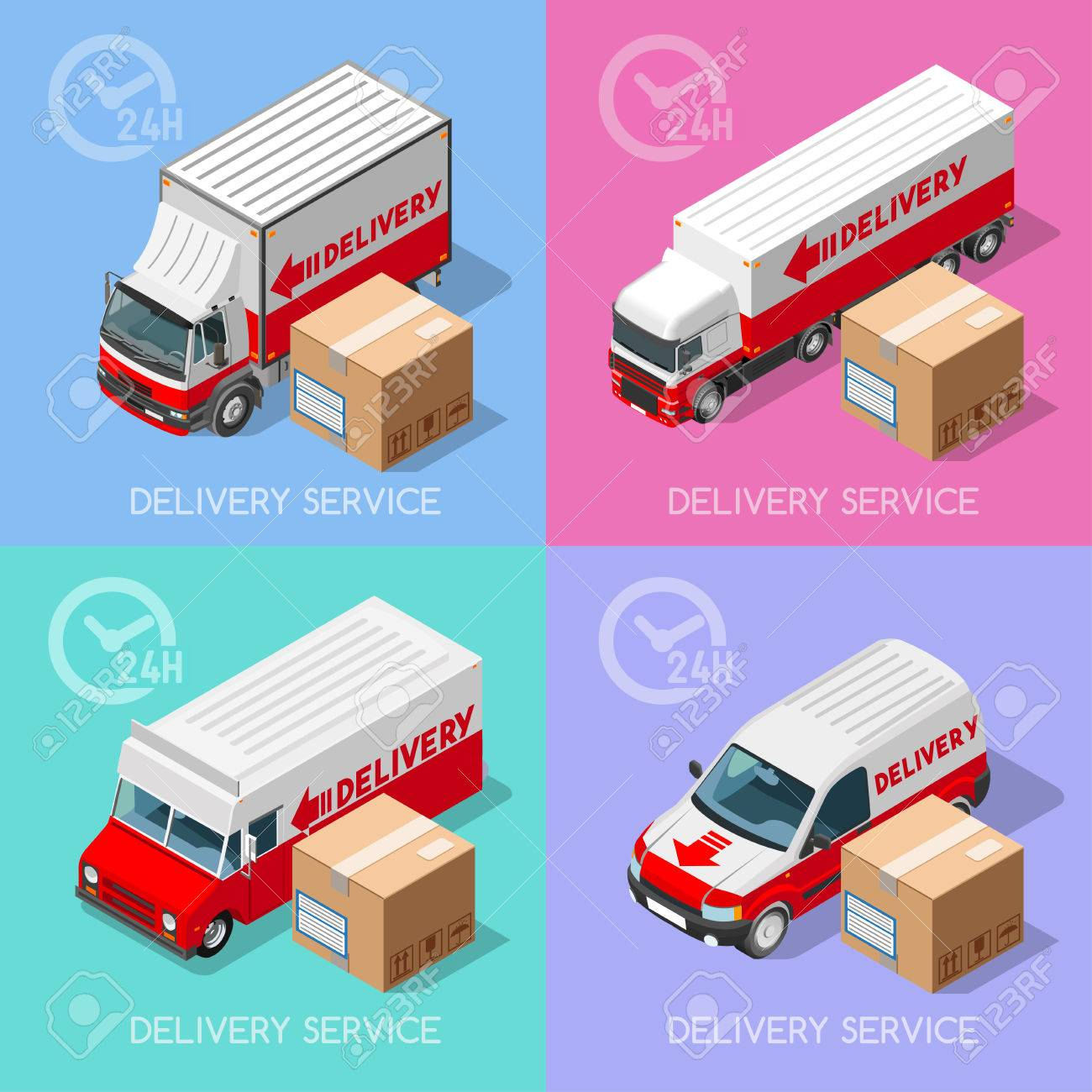 Shipment And Delivery Transport Service Elements Vehicles Collection ...