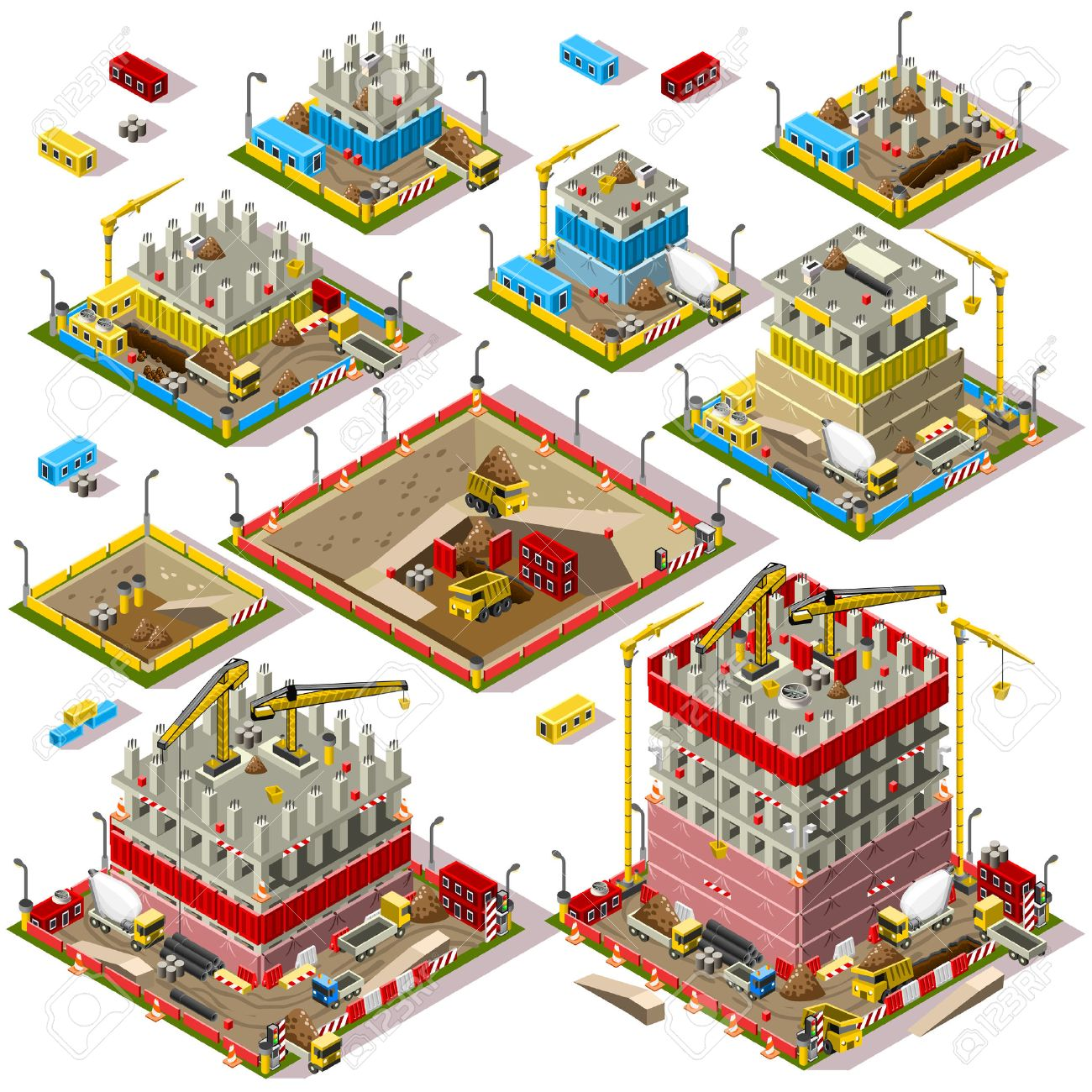 Flachen 3d Isometrische Gebaude Baustelle Stadt Map Icons Spiel Tile
