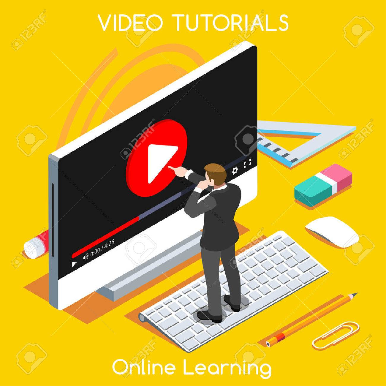 Video tutorials isometric concept. Study and learning banner remote education and knowledge growth. - 52842515