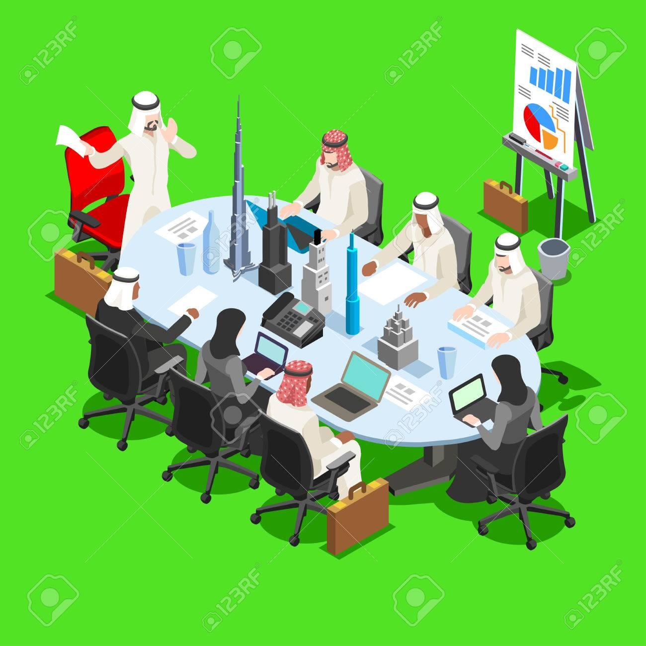Middle Eastern Arab Sheik Businessman 3D Flat Isometric People