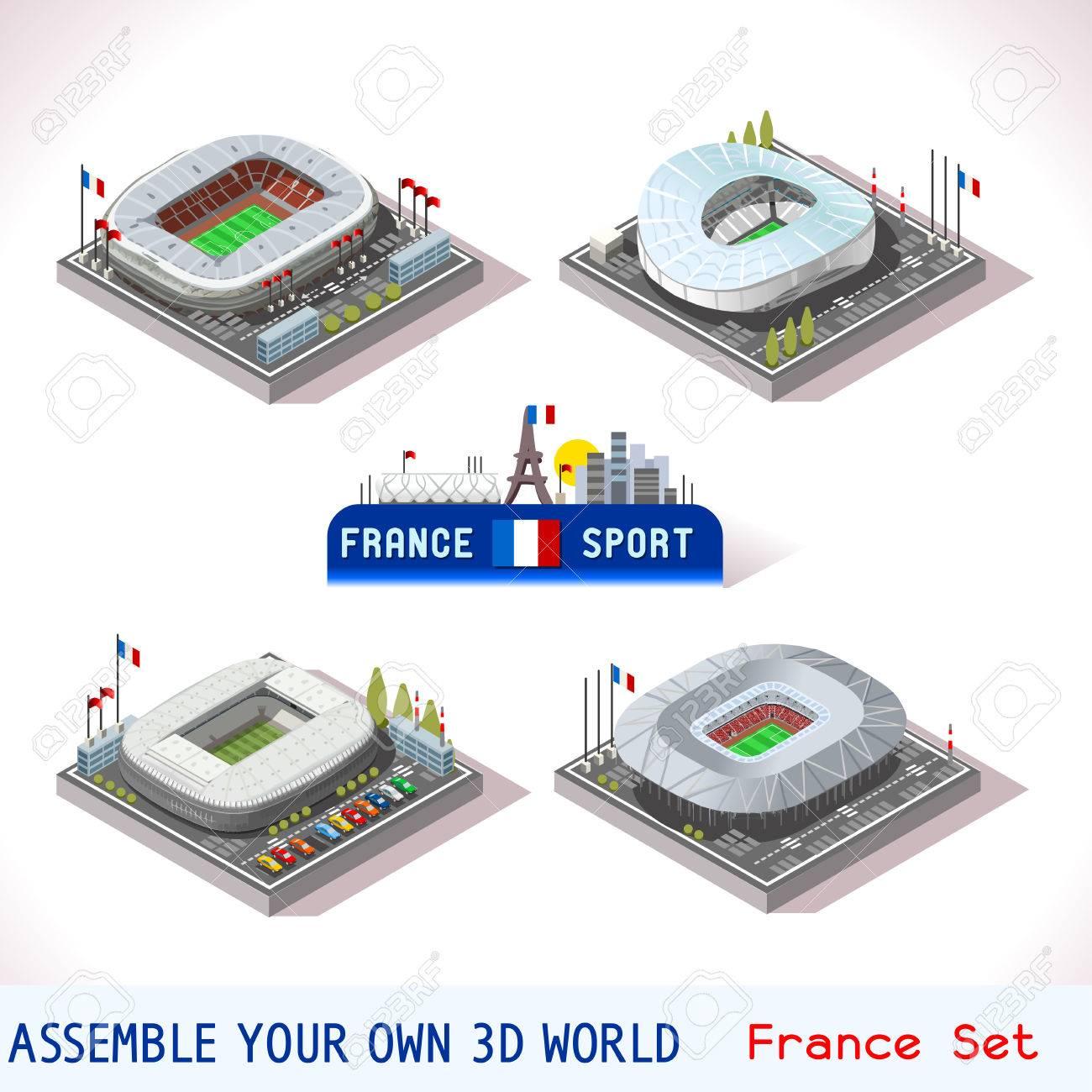 Icônes Du Stade De Football Euro France Nice Villeneuve Mauroy Decines Charpieu Olympique Marseille Velodrome Flat City Map 3d Isometric Infographic