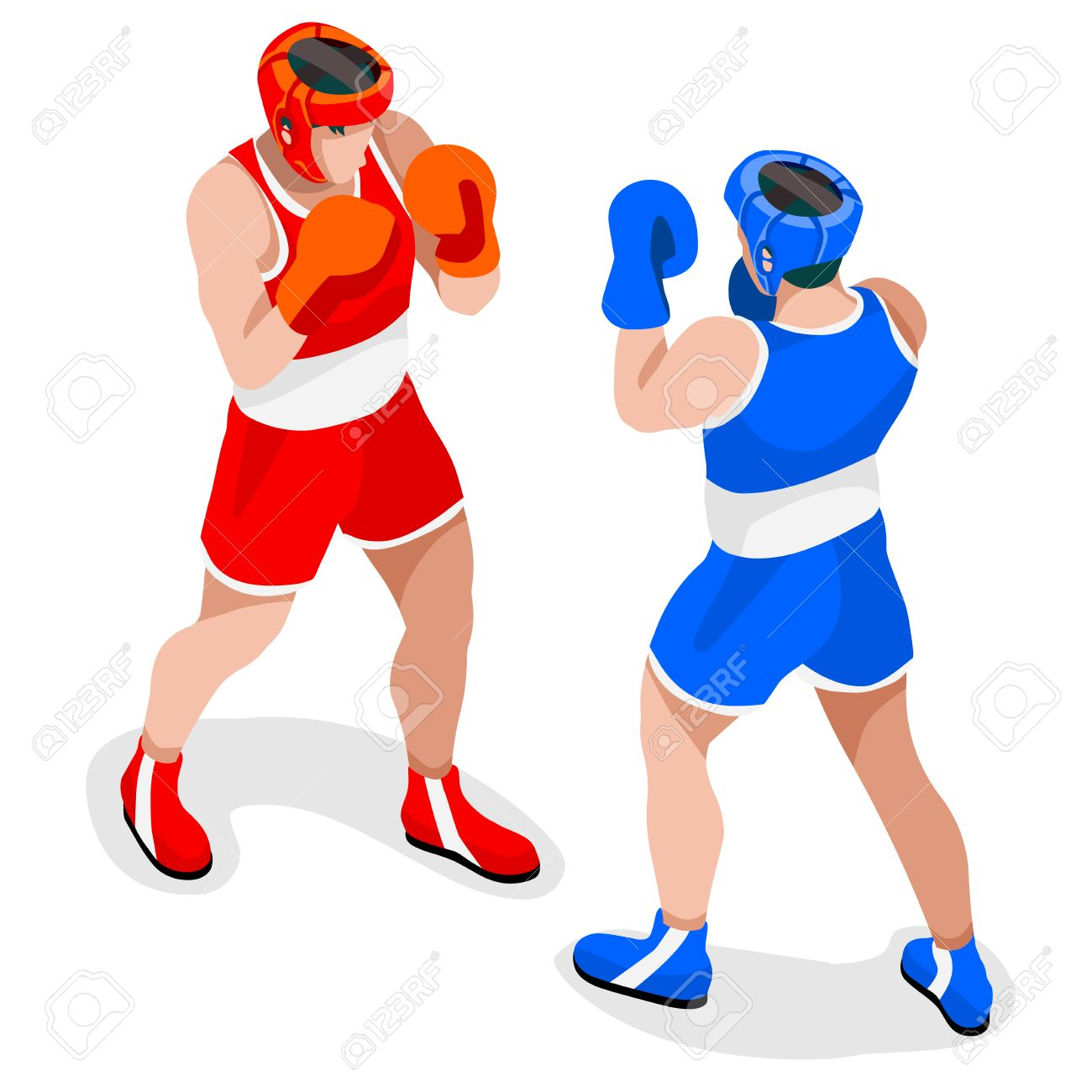 Boxing Players Summer Games Icon Set3d Isometric Boxersporting
