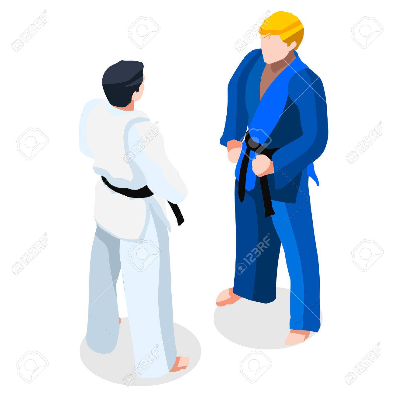 judo karate fight summer games icon set 3d isometric fighting