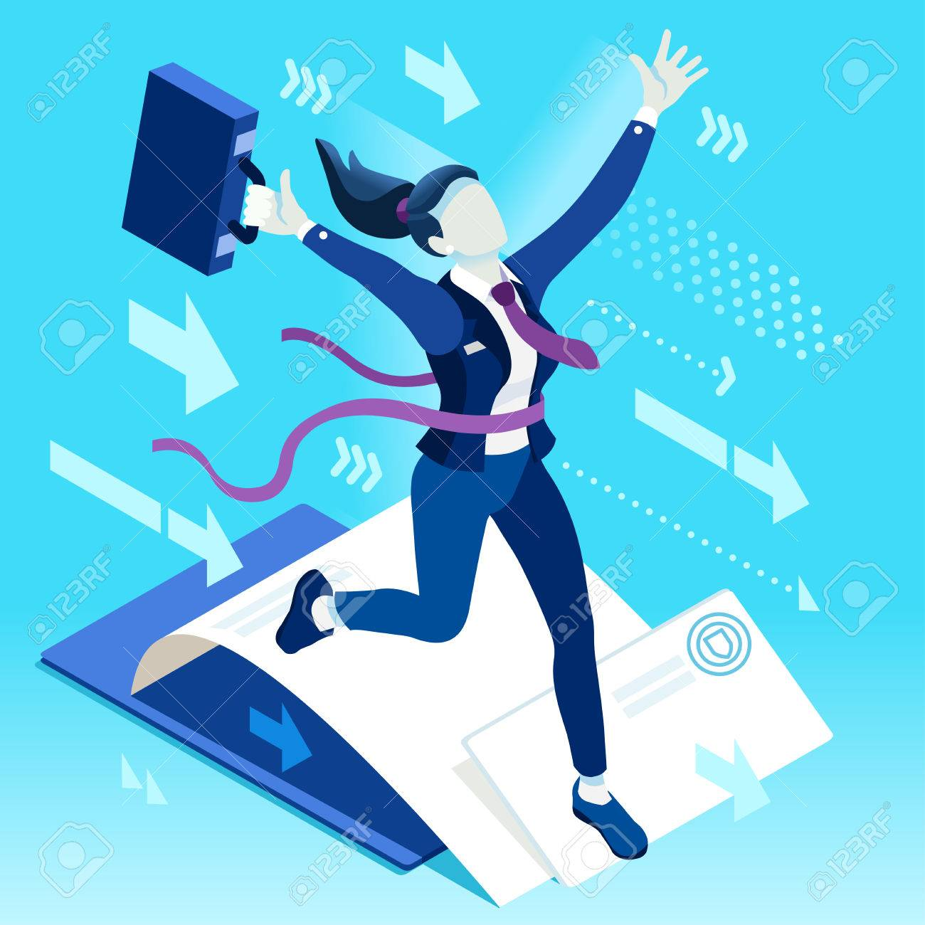 Business concept infographic vector design. Businessperson 3D character flat ambitious woman. Career ambition changing role. Winning Startup group