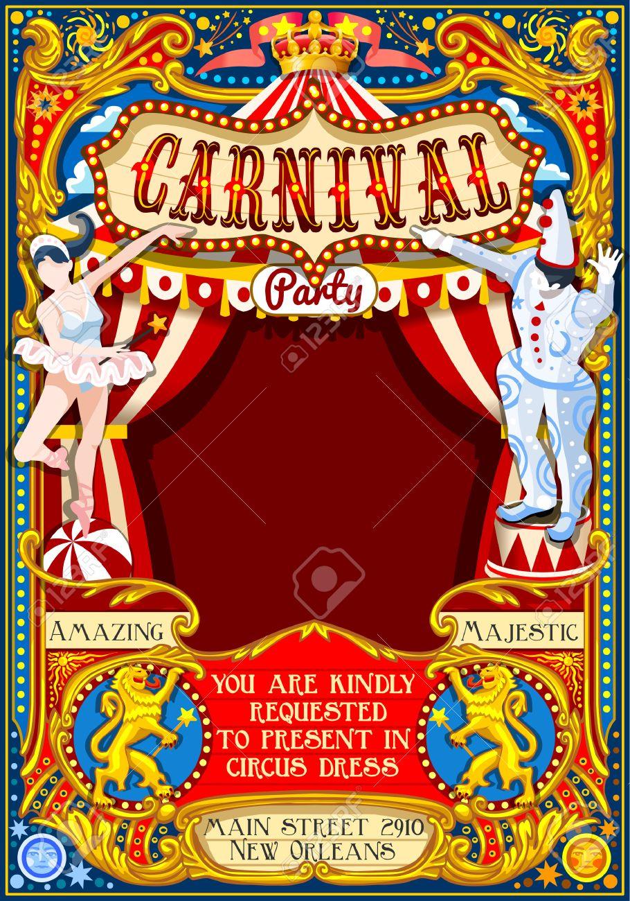 Espectáculo De Circo Malabarista Plantilla Retro. Cartel De La ...