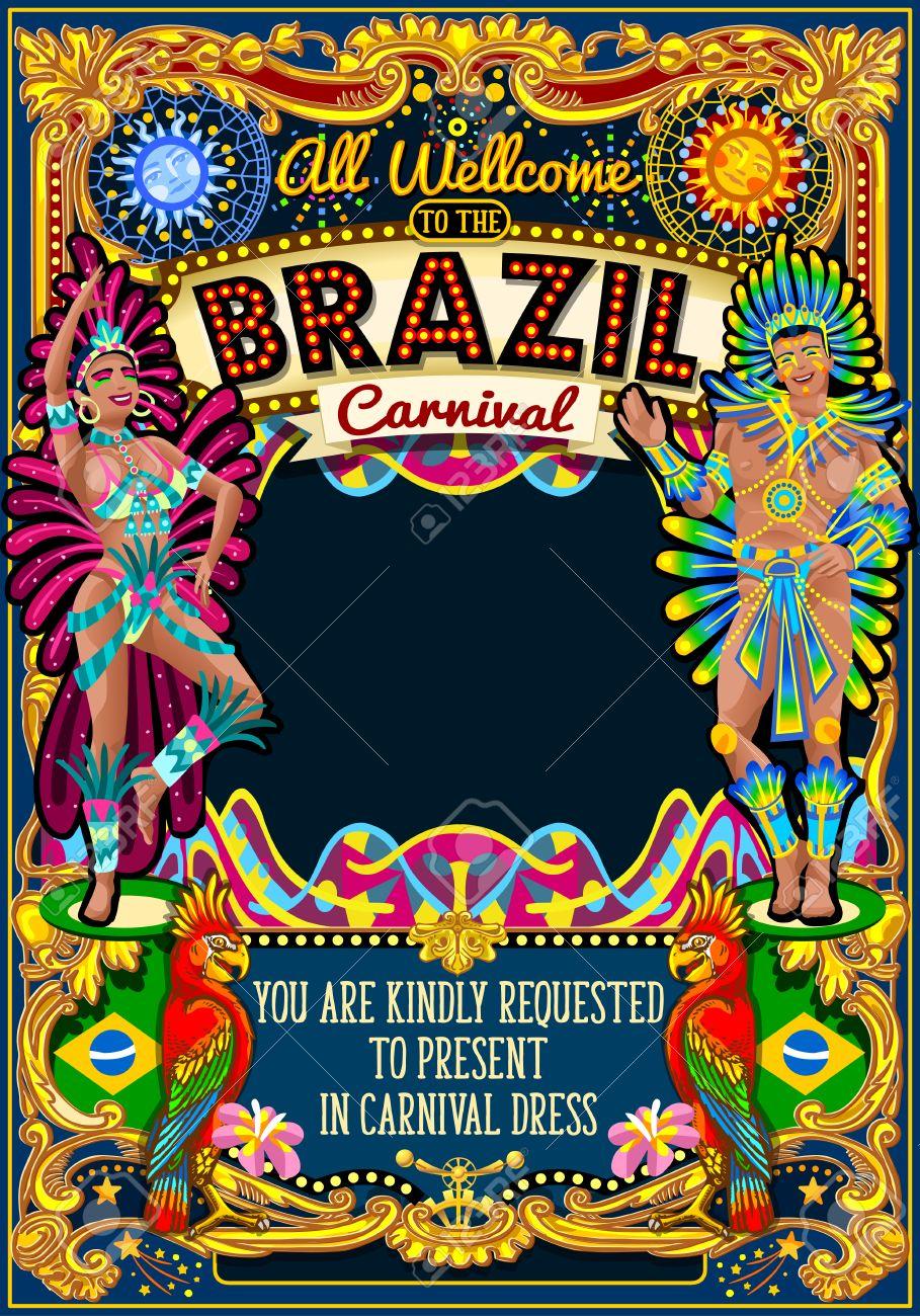 Carnaval De Río Festival De La Ilustración Del Cartel Brasil Noche Mostrar Carnaval Desfiles Fiesta De La Mascarada Plantilla De Tarjeta De
