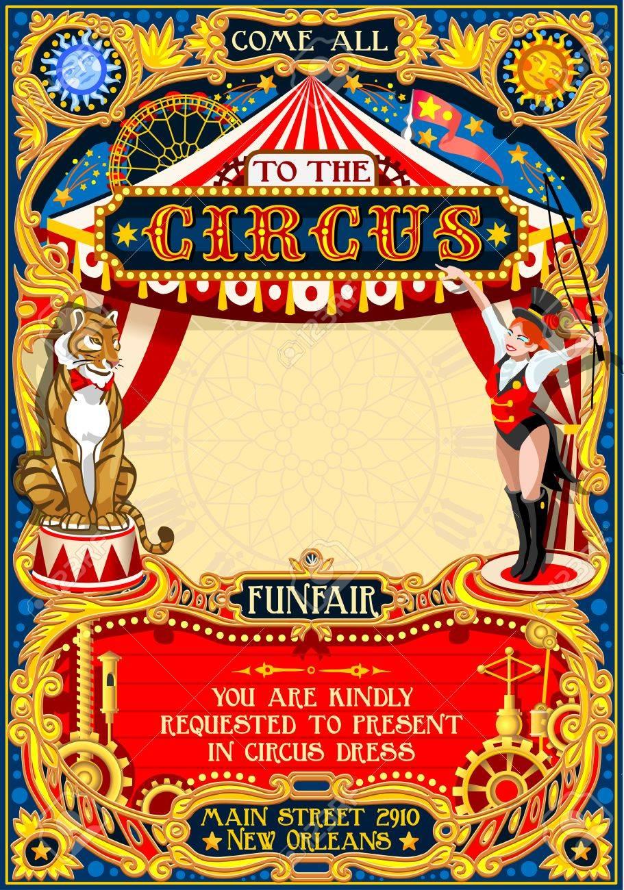 Espectáculo De Circo Entrenador De Animales Plantilla De Retro ...