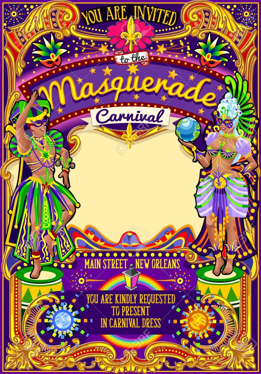 El Carnaval Ilustración Cartel Del Festival Nueva Orleans Noche Mostrar Carnaval Desfiles Fiesta De La Mascarada Plantilla De Tarjeta De Invitación