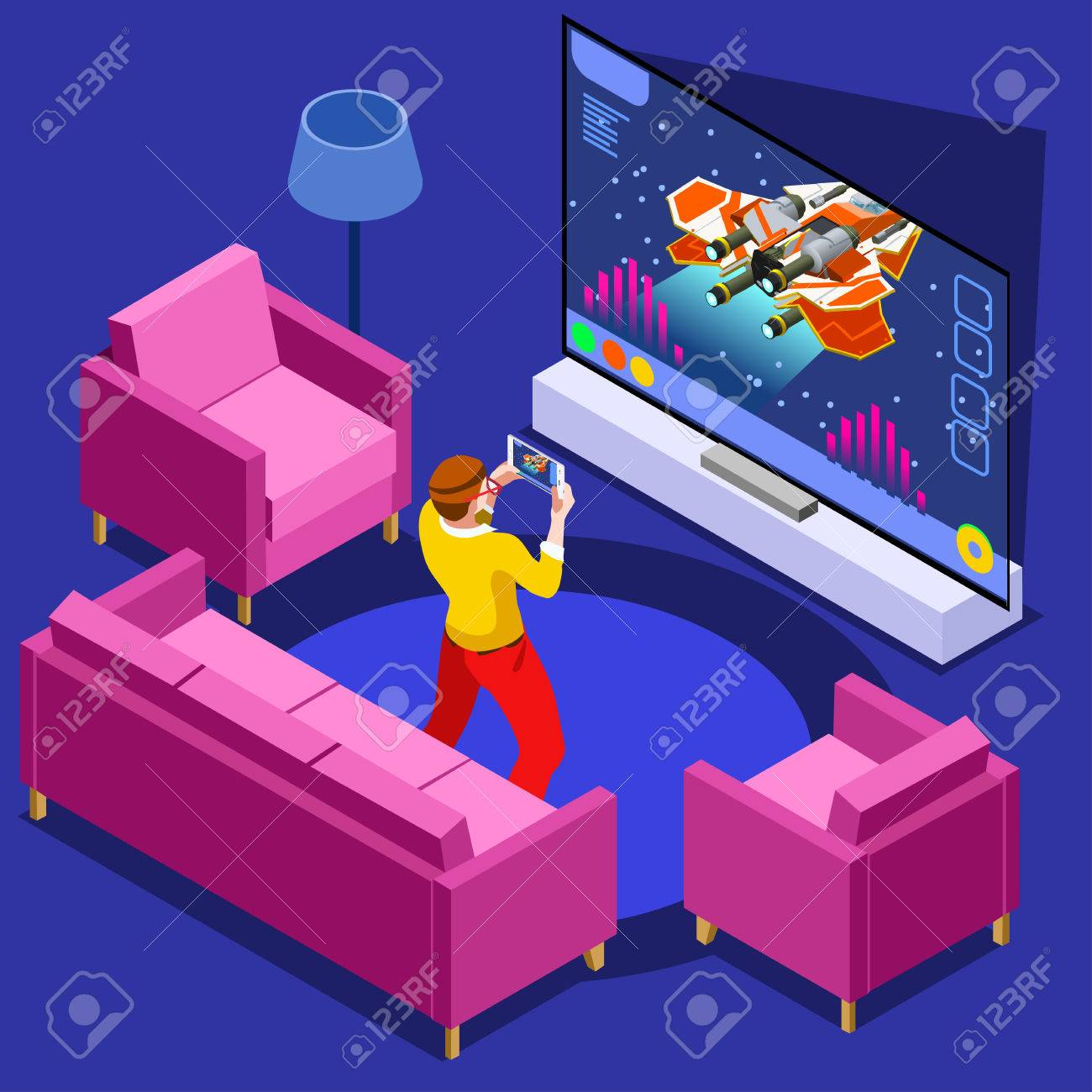 Video game screen and gamer person gaming online with console