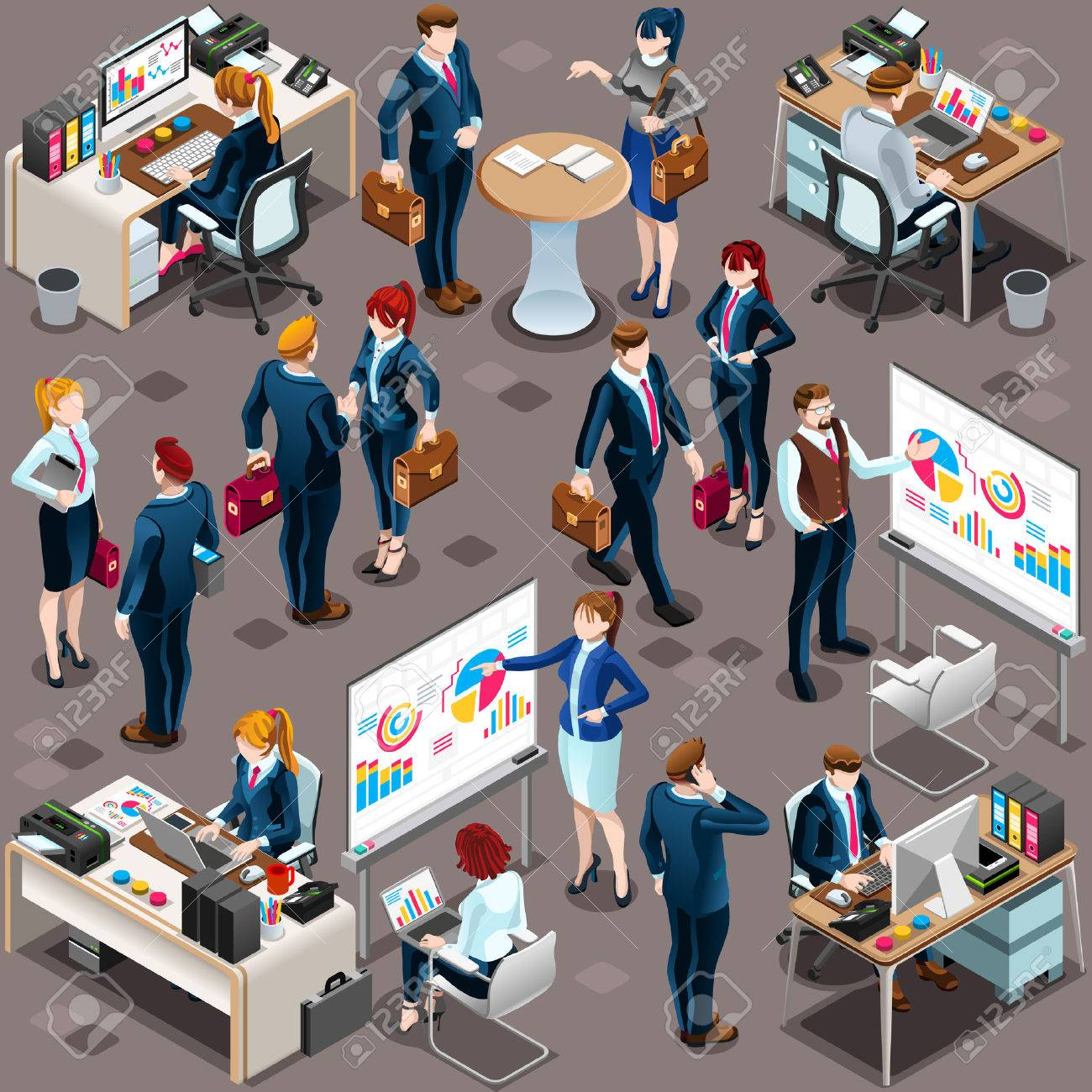 Isometric people isolated meeting staff infographic. 3D Isometric boss person icon set. Creative design vector illustration collection Standard-Bild - 73210521
