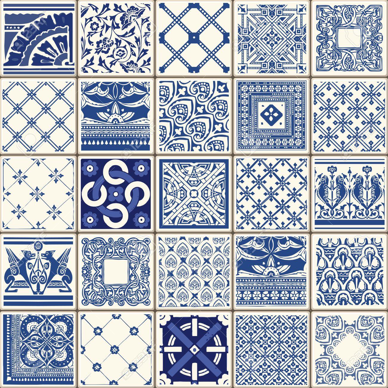 Indigo Blue Flower Azulejos Pattern Lisbon Set Paint Tile Floor ...