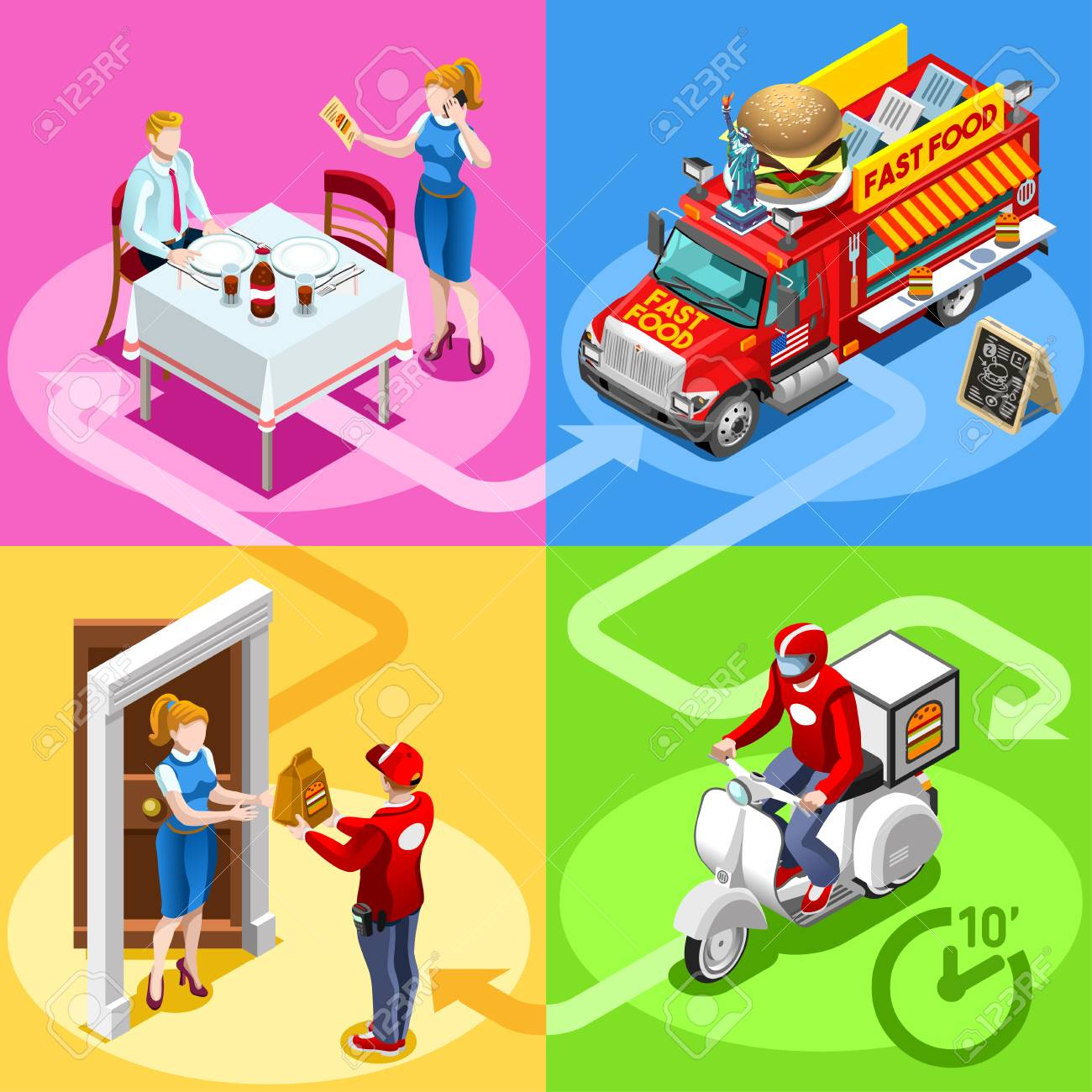 Take away fast food truck and white car or van for hamburger fast home delivery vector infographic. Isometric people delivery man processing online order at the client customer door Standard-Bild - 78786552